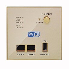 Wall Embedded Wireless AP Router 3G/4G Wireless Wifi Computer USB Charge Champagne Color