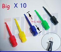 10lots 5 colors 56MM Large SMD IC Single Hook Clip Grabbers Test Probe cable ,multimeter wire lead