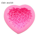 F15233 Beautiful Rose Flowers Love Heart Shape 3D Silicone Cake Mold Decorating Wedding Cake Baking Home Tool Fondant Mo