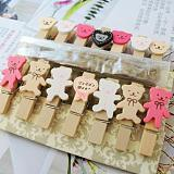 14Pcs Bear Pattern Mini Wooden Clip Photo Paper Wood Pegs Kids Crafts Party Favor