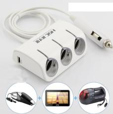 S01000 HSC YC-401 1 to 3 Ports Dual Core Dual USB 120W Car Cigarette Lighter Socket Splitter Plug Adapter