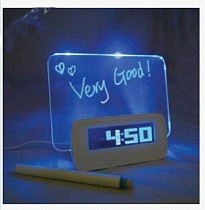 1pc Blue/Green LED Fluorescent Message Board Night Light Digital Alarm Clock with Calendar Temperature Timer Music