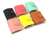 Simple PU Leather Credit Business ID Card Bag Pocket Wallet Holder Coin Pouch 24 slots