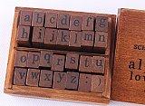 DIY 28pcs Wooden Rubber Stamps Box Case Schoolbook Lower Case Alphabet Craft Typewriter Gift