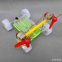 Turn Air Powered Car Double Motor Propeller Toy DIY Assembling Model 18*13*14cm 4WD Smart Robot Car Chassis RC Toy