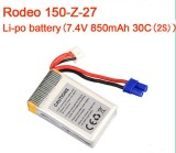 Walkera Rodeo 150 RC Quadcopter Spare Parts 7.4V 850mAh 30C 2S Li-po Battery Compatible with Walkera Rodeo 150 Drone F18