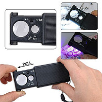 30X 60X Mini Portable LED Currency Detecting Jewellery Identifying Magnifier Loupes Pullout Switch