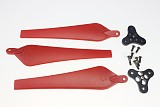 1 Set 12*4.5 Red Folding Nylon 3-Propeller Prop CCW with 0328 Base Mount for Drone RC Multicopters
