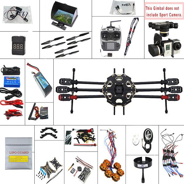 JMT 2.4G 9CH 680PRO PX4 GPS 5.8G Video FPV RC Hexacopter Unassembled Full Kit RTF DIY RC Drone Combo MINI3D Pro Gimbal