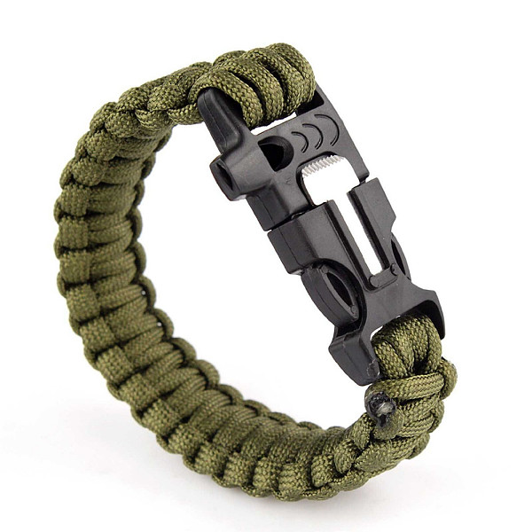 2pcs bracelets survival paracord with scraper whistle and matches for outside sports Black and Green Army Wholesale