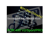 F01518 M2*12mm Main Shaft Screws & Nuts M2 12MM for Trex Align T-rex 450 V2 Sport Pro RC Helicopter +FreePost