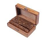 70pcs Rubber Stamps Set Vintage Wooden Box Case Schoolbook Form Letters Number Craft Gift