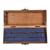 8492TW Vintage 42pcs Wooden Rubber Stamps Box Case Schoolbook Uppercase Letters Number Craft Typewriter Gift