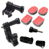 Three-Way Pivot Arm + Buckle Tripod Mount + Flat & Curved 3M Adhesive Stickys for Gopro Hero 3 Plus 2