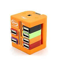 CIBOU High Speed Multifunctional USB Splitter 6ports USB Hub SD MS TF M2 Multi-card Universal Card Reader Orange