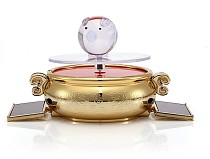 Pot Shape 360 Degree Solar Power Turnable Rotary Jewelry Display Stand Showcase Silver / Gold Optional