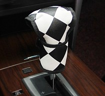 F12085 Car Handbrake Cover Car Stalls Set Auto Supplies Classic Black and White Fine Grid Automotive Interior