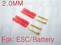 F00912 1 pairs 2mm banana plug with housing, ESC LIPO Battery Motor