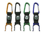 Outdoor Locking Carabiner Water Holder Bottle Clip Strap Snap hook with Camping Compass