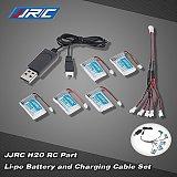 JJRC H20 RC Hexacopter Part 5x 3.7V 150mAh 30C Li-po Battery and Charging Cable Set KH20-001