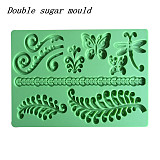 F15221/19 Wholesale Double Sugar Moulds Butterfly Wheat Heart Bird Pattern Silicone Fondant Molds DIY Cake Baking Kitche
