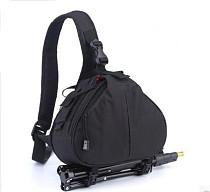 F08612 Nylon Camera Shoulder Bag Triangle Carry Case Black for DSLR Canon Nikon Camera Lens