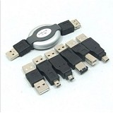 Travel Cable kit 6 in 1 USB Retractable Cable Adapter connecter Set For Cameras Printers MP3 Mobile Phone