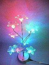 S00750 Mini Blue Lily Flower Tree LED Night Light Lamp For Home Desk Festival Decoration