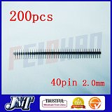 200pcs 2.0mm 40pin Straight Male Pin Header Strip, circuit board ,PCB , LED,Computer ,Electricity meter