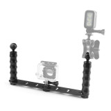 Dual Handheld Selfie Monopod Diving Underwater Light Arm Aluminum Mount for GoPro HERO3/3+/4/5 xiaoyi Camera