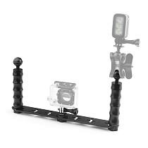 Dual Handheld Selfie Monopod Diving Underwater Light Arm Aluminum Mount for GoPro HERO3/3+/4/5 xiaoyi Camera