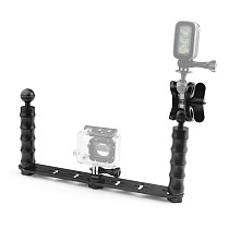 Aluminum CNC Diving Lights Ball Butterfly Clip Arm Clamp Mount + ABS Ball Base Adapter For Gopro Hero 4 3plus 3 Camera