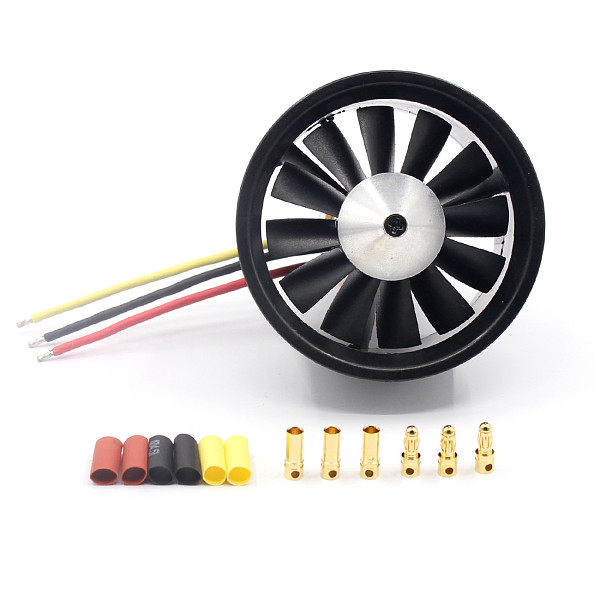 QX 64mm EDF with 12 Blades Ducted Fan Jet 3S-4S Motor QF2822 3500KV/ 4300KV Brushless Motor for RC Airplane
