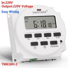 SINOTIME TM618H-2 220V AC Digital Time Switch Output Voltage 220V 7 Days Weekly Programmable Timer Switch for Lights Application
