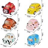 Alloy Die-cast 1:64 Carton Animal Mini Truck Toys Pull Back Vehicles 6 Pack Assorted Cars Play Set for Kids Toddler Party