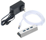 Acasis HS0063 Aluminum 2m+Power Adaptor 4 Port 5Gbps USB 3.0 Splitter Super Speed with Micro USB Plug US