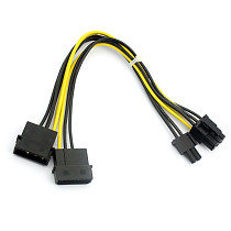 8Pin to Dual Large 4Pin Connector Port Graphics Card Power Supply Cable D Type 20cm Wire Date Cable Adapter for Computer