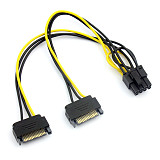 20CM Dual SATA Power Cable 15P to 8P Graphics Card 18AWG Wire Connector 1 IN 2 Male 15Pin to 8Pin SATA Cable for Mining Miner