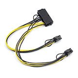 ATX 24Pin to to Dual 6 Pin PCI-E Graphics Card Power Cable With Boot Graphics Adapter Cable Wire 18AWG 30cm