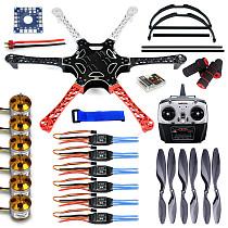 F05114-O F550 Drone FlameWheel Kit With QQ ESC Motor Carbon Fiber Propellers + RadioLink 6CH TX RX+Skid PTZ FPV