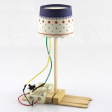 DIY Assemble Model Mini Table Lamp 10mm LED 3V 2 AA Battery Power Supply Physical Technology Small Invention Handmade Wood Toys