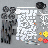 92Pcs Single / Double Plastic Gear Motor Rack Pulley Gearbox Model Toy Car Auto Craft DIY Accessories Four-wheel Drive Robot Kit
