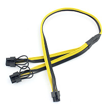 PCI-E PCI Express 6Pin to Dual 2-Port 8Pin 6+2 Pin Adapter GPU Video Card Power Cable Module Wire 16AWG 40cm+20cm Splitter Miner