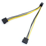 High Quality 18AWG 20CM Dual 4 Pin 4P to 6 Pin 6P Molex PCI-E External Graphics Card Power Cable Converter Adapter Cord