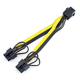 15cm UL 18AWG PCI-E 6pin Female to Dual 8pin(6+2) 6+2Pin Y-Splitter Video Card Power Supply Adapter Cable.PCIe GPU Line