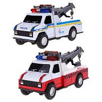 1:28 Pull Back Car Toys Children Crane Car Toy Firefighting Musical Flashing Truck for Kids Child Boys Gift 15.5*6.2*7.5cm