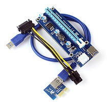 XT-XINTE PCI-E Express 1x 4x 8x 16x Extender Riser Card Adapter 6Pin DC-DC Power Cable for ETH Bitcoin Mining Device