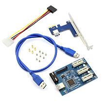 XT-XINTE PCIe 1 to 3 PCI Express 1X Slots Riser Card Mini ITX to External 3 PCI-e Slot Adapter PCIe Port Multiplier Card