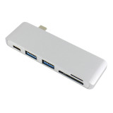 USB-C 3.1 Multi-port Hub Adapter with 2 Ports USB 3.0 Type-C Hub Splitter PD SD/TF Card Reader for Macbook Pro Air Upgrade