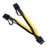 PCI-E PCIE 8p Female to 2 Port Dual 8pin 6+2p Male GPU Graphics Video Card Power Cable Cord 18AWG Wire